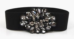 $enCountryForm.capitalKeyWord UK - European Fashion Black Elastic Band Dress Belt For Women Shining Rhinstone Wide Brim Belt Elegant Ladies Pin Buckle Waist