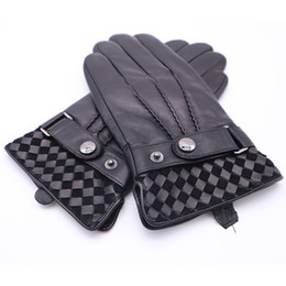 China 2018 Men's Winter Gloves Genuine Leather Men Buckle Plush Warm Thermal Gloves Touch Screen Driving Black Mittens AGB670 cheap black leather driving gloves suppliers