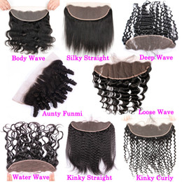 Discount cheap frontal hair piece - Raw Virgin Indian Curly Swiss Lace Frontal 13x6 Deep Wave Human Hair Closure Cheap Unprocessed Full Frontals Top Closure
