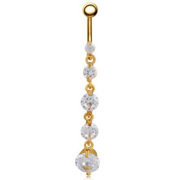 navel piercing gold heart 2019 - Long Section Round Five Small Zircon Navel Ring Sexy Body Piercing Jewelry Fashion Belly Button Rings For Women