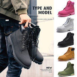 Plain fabrics online shopping - Timberland Boots Mens Women Designer Boots Khaki Triple Black White Camo Green Brown Martin Winter Boot size direct selling