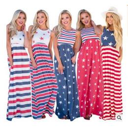 $enCountryForm.capitalKeyWord Canada - Fourth of July Women Dress Striped Print Maxi Dress Casual Long Dress Beach Summer Clothing 5 Colors DHL Free Shipping