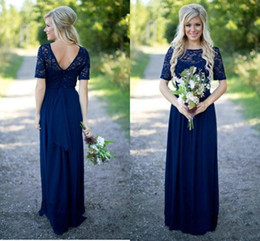 $enCountryForm.capitalKeyWord Australia - Navy Blue Elegant Bridesmaid Dresses Lace Half Sleeves V Back Chiffon A Line Floor Length Sheer Neck Party Dresses for Wedding Guests