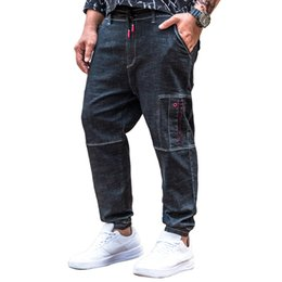 7577fe3dbc8 2018 Mens Stretch Multi Pockets Denim Trousers Letter Embroidery Loose Slim  Jean Pants Large Big Size 30 32 34 36 38 40 42 44 46