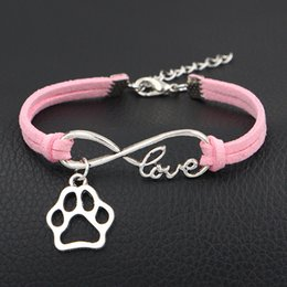 $enCountryForm.capitalKeyWord Canada - 12 Color Fashion Infinity Love Dog Claw Paw Charm Bracelet For Women Men Vintage Pink Leather Suede Bangle Femme Party Jewelry Wholesale