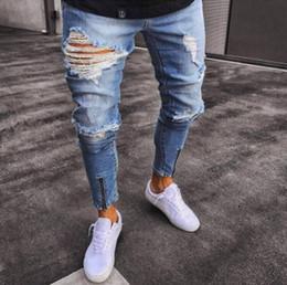 DIAOOAID hombres elásticos rasgados pantalones vaqueros del motorista  destruido pantalones de mezclilla slim fit hombre pantalones de corte hip  hop agujero ... 02b267af6f1