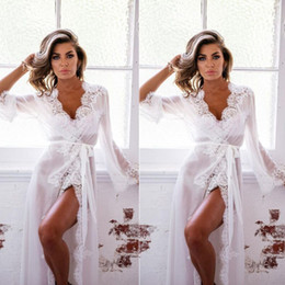 9640adc31c3 Bridal Sleepwear Canada - Transparent Intimates Women Bath Robe Femme  Female Lace Sexy Sleepwear Bathrobes Lingerie