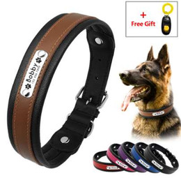 Chinese  Personalized Leather Engraved Dog Collar Custom Padded Pet Big Dog K9 Collar ID Tag For Medium Large Dogs Gift Training Clicker manufacturers