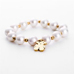 d5163afeebc8 2018 New Style Fashion Design Beads Pearls Bears Charms Stainless Steel  Handmade Bracelet Female Gift Jewelry Bracelet