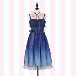 3fcd7390079 Gradient Starry Sky Lolita Summer Dress ~ Fairy Blue Mori Girl Sleeveless Long  Dress by iDream