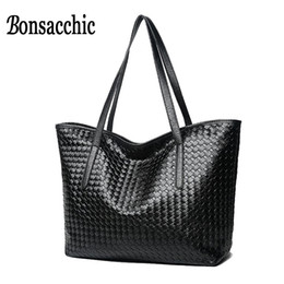 ladies big hand bags 2018 - Bonsacchic Top Handle Knitted Bag Women Leather Bags Handbags Famous Brands Designer Ladies Black Handbag Big Hand Bag f