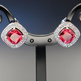 $enCountryForm.capitalKeyWord Australia - Fund Jewelry Three-piece Competitive Products Ring Pendeloque Cut Earrings Square Ornament Pieces Red Zircon Suit