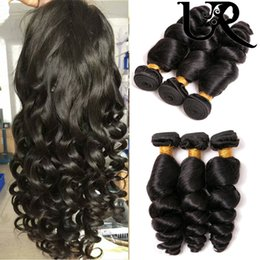 Discount human hair bob weaves - 100% Unprocessed Peruvian Loose Wave Hair 4 Bundles Natural Black Mink Human Hair Extension New Arrival New Style Bob Fo