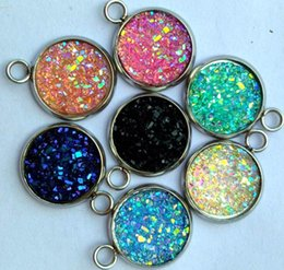 12mm Stainless Steel Beads NZ - MIX COLOR 12mm most popular Multicolor 20pcs druzy Resin Round Stone beads with stainless steel For DIY necklace earring