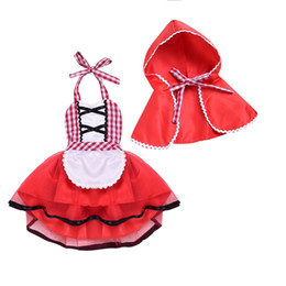 two piece cape dress Australia - Newborn Baby Girls Dress Clothes Christmas Dress With Capes New Fashion Plaid Skirt Little Red Hat Two Pieces For Baby Girls