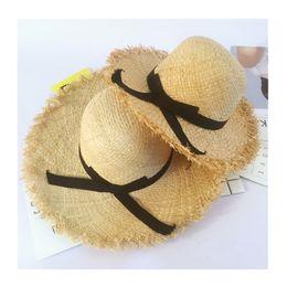 Kids floppy brim hat online shopping - Summer Parent Child Floppy Raffia Straw Sun Hat With Ribbon Crunch Wide Brim Women Hats Chic Beach Solid Kids Caps UV Protection