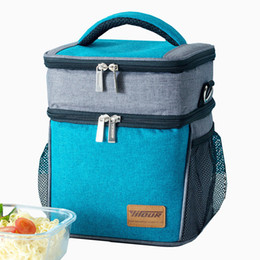 $enCountryForm.capitalKeyWord Canada - Double Layer Shoulder Cooler Pack Thermal Insulated Lunch Bag Tote Large Waterproof Picnic Fresh Keeping Storage Container