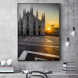 Modern abstract wall art black white online shopping - Nordic Black and White Street View Landmark Canvas Painting Posters Print Wall Art Pictures For Living Room Bedroom Aisle Modern