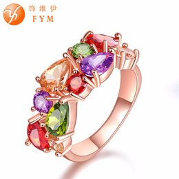 bride ring finger 2019 - Mona Lisa Multicolor Cubic Zircon Ring for Women Fashion Finger Jewelry Rose Gold color Bride Engagement Rings Wholesale