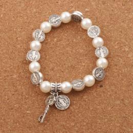 Gold plated bronze online shopping - Hot Saint Benedict Pearl Beaded Bracelet Strands Antique Silver Gold Bronze Religious Patron Stretch Bracelets BB78