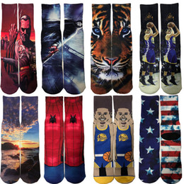 Discount football specials - Cross-border special high-end 3D digital printing Stockings Super Tiger Stars Painted men's basketball Long socks t