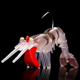 Soft Lure Bait Section Australia - 100mm 18g UV soft shrimp 5 colors fishing lure TPR luminous bait With lead Hooks multi section Soft shrimp pet box