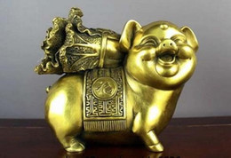 chinese zodiac year statue UK - Chinese brass copper Fengshui Money Rich Zodiac Year lucky Pig Cabbage Statue