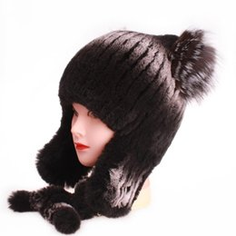 2649a4308d4 Hot Genuine Rabbit Fur russian Hat female Cap Nature Knit Fashion Women  women s Winter balaclava Headgear girls hats for