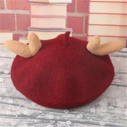 8d59f30c10f Parent-child cap wool antler children s beret Christmas children s hat wool  autumn winter hat painter Kids hats