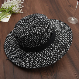 $enCountryForm.capitalKeyWord Australia - Myelo Women New Summer Sun Hats For Female Black Wide Large Brim Sunbonnet Mesh Straw Hats With Black Ribbon Ladies Beach