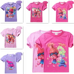 troll shirts for girls Australia - Trolls T-shirts for Boy Girl Tops Summer Short Sleeve Shirt Children Ruffle Raglan Shirts 10 clolrs Choices free ship in stock