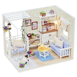 wholesale doll houses NZ - Wholesale- Doll House Miniature DIY Dollhouse With Furnitures Wooden House Waiting Time Toys For Children Birthday Gift K0227