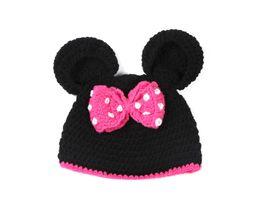 $enCountryForm.capitalKeyWord Australia - Fashion Newborn Cute Baby Photo Props Handmade Knitted Mouse Hat Bow Pant Set Cartoon Infant Phography Shoot Accessory PZ036