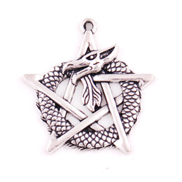 pewter charms UK - Apricot Fu Special Magic Design Pewter Dragon on Pentagram Star Gothic Fantasy Charm Pendant Jewelry Provide Dropshipping