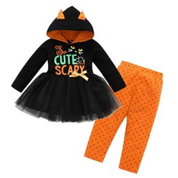 Wholesale Halloween baby outfits children girls Black cat letter print Hooded Tutu dress top Dot pants set Autumn kids Clothing Sets