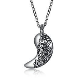 925 silver dragon chain UK - wholesale 925 Sterling Silver Moon Carve Dragon Pendant , European 45CM Necklaces & Pendants For Women or Men SVN199