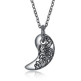 c21b75b82857 venta al por mayor 925 Sterling Silver Moon Carve Dragon colgante