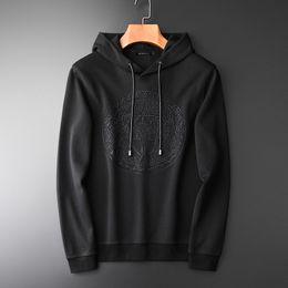 slim fit pullover hoodie men 2019 - Minglu Hoodies Men Hight Quality Embroidered Autumn Hooded Pullover Sweatshirt Men Fashion Slim Fit Solid Color Mens Hoo