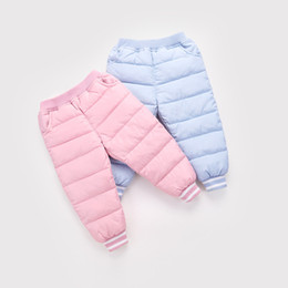 autumn kids leggings UK - 2018 New Boys Long Pants Children Trousers For Girls leggings Winter Thicken Warm Slim Clothes Down Baby Kids Autumn Clothing A-691