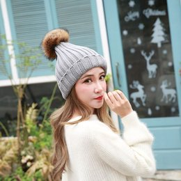 Cap Fur Ball Top Canada - 2017 Imitation wool Hats Warm Wool Winter Hat With Pompom Women Knitted Bobble Hat Cap With Fur Ball Top Knitted