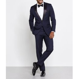 plus size navy blue suit Australia - Navy Blue Trim Fit Men Suits for Wedding Wear Two Piece Peaked Lapel One Button Custom Made Groom Tuxedos Jacket Pants