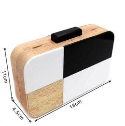 $enCountryForm.capitalKeyWord NZ - Black and White Designer Handmade Wooden Women Evening Box Clutch Purse Acrylic Solid Bag Chain Women's Cross-body Handbag Y18103004
