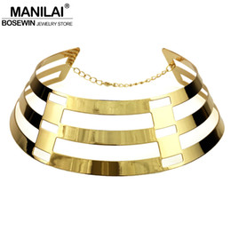 $enCountryForm.capitalKeyWord NZ - ashion Jewelry Necklace MANILAI Trendy Arc Hollow Metal Big Torque Neck Bib Choker Necklaces Women Indian Jewelry Collar Maxi Statement N...
