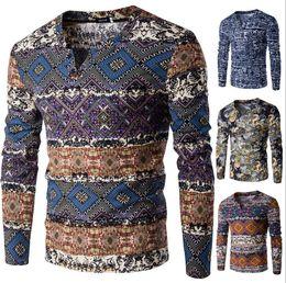 Men folk online shopping - Mens Cotton Tops Folk Style Long Sleeved V Neck Casual T shirt Types