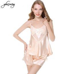 4fb78d2c0f Yhotmeng Silk Sexy Pyjamas Women Spaghetti Strap Soft Sleepwear Top    Shorts Sets Sleepwear Satin Pajama Lace Homewear Lingerie
