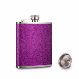 China 2018 New Purple blue High quality Glitter color leather wrapped 7oz stainless steel pocket hip Flask Free funnel cheap pocket funnel suppliers