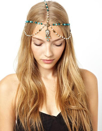 head chain headband Australia - European Hairband Headdress headbands Vintage Indian Boho Blue Resin bead Pearl Headpiece Women head chain Forehead hair jewelry