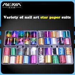 1 Box Laser Nail Foil Set 2.5*100cm Laser Nail Sticker Nails Foils Nail Art Kits free Star Glue Stencil Decal Products Hot Sale Nails Art & Tools