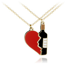 $enCountryForm.capitalKeyWord UK - Creative Jewelry Couple Necklace Love Heart Beer Bottle Shape Pendant Necklace for Lovers Choker Chain Party Gifts Wholesale