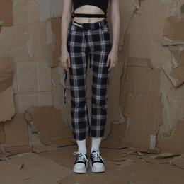$enCountryForm.capitalKeyWord NZ - Korean Fashion 2018 Spring New Women Vintage Plaid Pants Cotton Lace Up Design Female Ankle-length Pants Trouser Capris S18101606